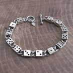 Antique Silver High Roller Dice Chain Bracelet - BC500AS