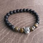 Black Panther Tiger Eye Stone Bead Bracelet - P120PTHR