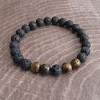 Black Lava Tiger Eye Stone Bead Bracelet - P127