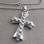 Antique Silver Pewter Bolt Cross Pendant on Thin Curb Chain Necklace - CH205-BOLTX