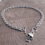 ChromeTeardrop Toggle Necklace w/Skull XL - CH300SKULLXL