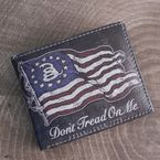 Brown Vegan Leather Don't Tread On Me Bi-Fold Wallet - WLTVBI-NTRD