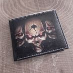 Brown Vegan Skull Red Eye Bi-Fold Wallet - WLTVBI-SKULL