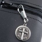 Antique Silver Circle Cross Zipper Pull - Z-XCIRC