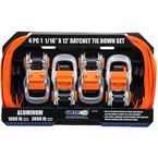4 Piece 1 in. x 12 ft. Ratchet Tie Down Strap Set - 28558