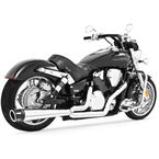 Chrome Combat Series Exhaust System w/Black Tip - MH00013