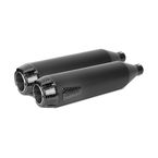 Black Ceramic Comp-S Dual Slip-On Mufflers w/Carbon Fiber End Caps - 005-3760499D-B