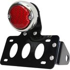 Polished Stainless Steel 33 Ford Taillight/License Plate Bracket Kit w/LED Bulbs and Red Lens - 107-0051