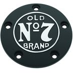 Black Wrinkle Old No.7 Timing Cover w/Machined Logo - 106-234