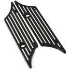 Black Straight Edge Saddlebag Latch Covers - HW129135