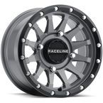 Black/Gray Raceline A95 Trophy Simulated Beadlock 14x7 Wheel - A95SG-47011+10