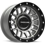 Black/Gray Raceline A93 Podium Beadlock 14x7 Wheel - A93SG-47011+10
