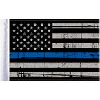 Grunge USA 9x6 Police Thin Blue Line Motorcycle Flag - FLG-PTBL-US