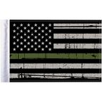 Grunge USA 10x15 Military Green Line Motorcycle Flag - FLG-GMGL-US15