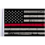 Grunge USA 10x15 Firefighter Thin Red Line Motorcycle Flag - FLG-GTRL-US15