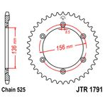 High Carbon 525 48 Tooth Steel Rear Sprocket - JTR1791.48