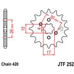Front Chromoly Steel Alloy 420 16 Tooth Sprocket - JTF252.16