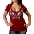 Womens Heather Red Sparkle Wings T-Shirt - GLC1338L