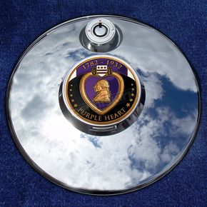 Motordog69 Tank 1.8  Fuel Door Coin Mount With Engraveable Purple Heart 2-Sided Coin - JMPC-FD-PURPLEHE