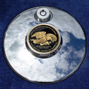 Motordog69 Tank 1.8  Fuel Door Coin Mount With Support Our Troops 2-Sided Coin - JMPC-FD-THANKTRO