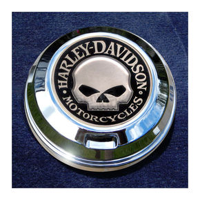 Motordog69 FCM 1.8  Fuel Cap Coin Mount With Harley Skull 2-Sided Coin - JMPC-FC-HSKULL
