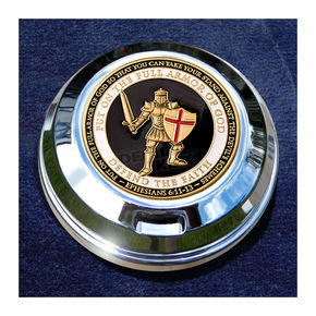 Motordog69 FCM 1.8  Fuel Cap Coin Mount With Armor Of God 2-Sided Coin - JMPC-FC-AOG