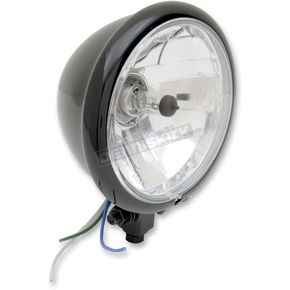 Drag Specialties Black 5 3/4 in. Diamond-Style Bottom-Mount Headlight Assembly - 2001-0554