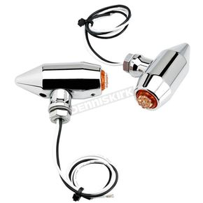 Joker Machine Chrome Vega L.E.D. Center Mount Turn Signals w/Amber Lens - 05-56-AC