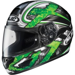 HJC Black/Dark Silver/Green Shock CL-16 Helmet - 914-946