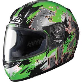HJC Youth CL-Y Green/Black/Silver Katzilla Helmet - 226-944
