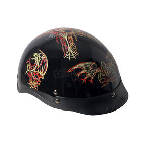 Hot Leathers Gloss Black Pinstriped Skull Helmet - HLD1011L