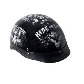 Hot Leathers Gloss Black Ride or Die Helmet - HLD1016L