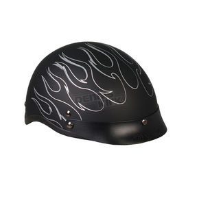 Hot Leathers Matte Black Silver Flames Helmet - HLD1020M