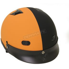 Rodia Vented Shorty Black/Orange Half Helmet - 100VOFB-L