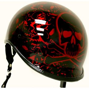 Rodia Black/Red Polo Alien Half Helmet - EXBYR-L