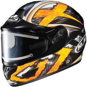 HJC Black/Dark Silver/Yellow CL-16SN Shock Helmet w/Electric Shield - 015-936
