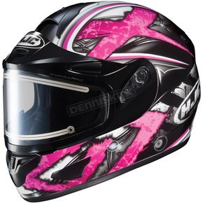 HJC Black/Dark Silver/Pink CL-16SN Shock Helmet w/Electric Shield - 015-986
