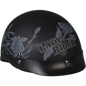 Hot Leathers Womens Lady Rider Gray Roses Helmet - HLD1021L