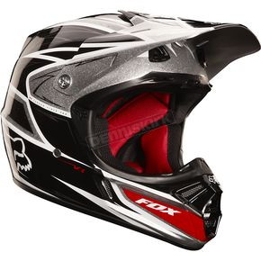Fox Black/Silver V3 Race Helmet - 02813-464