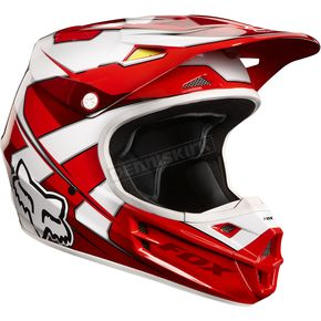 Fox Red/White V1 Race Helmet - 02822-003