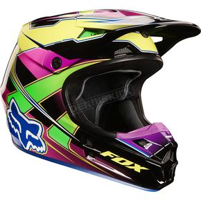 Fox Yellow/Blue V1 Race Helmet - 02822-586