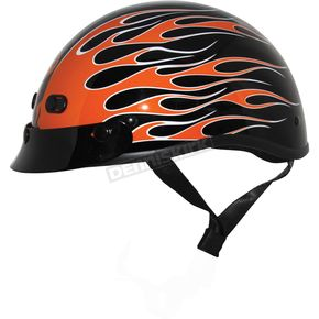 Zox Flame Black/Orange Nano Custom Half Helmet - 88-00384