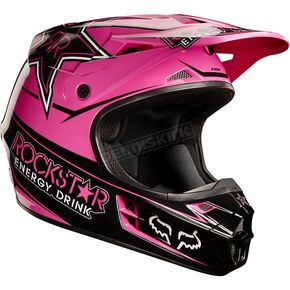 Fox Black/Pink V1 Rockstar Helmet - 02828-285-XL