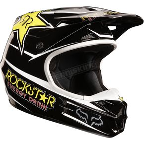 Fox Youth Black V1 Rockstar Helmet - 04531-001-L