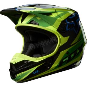 Fox Green V1 Race Helmet - 07129-004-L
