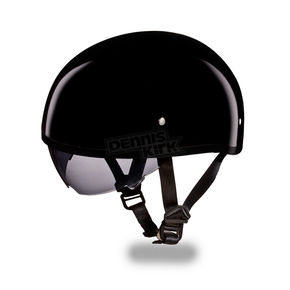 Hi-Gloss Black Skull Cap Half Helmet w/ Inner Retractable Smoke Shield