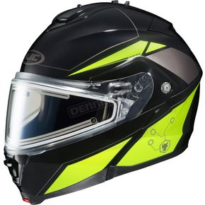 HJC Black/Hi-Viz Neon Green/Silver IS-MAX 2 MC-3H Elemental Helmet w/Electric Shield - 58-23436