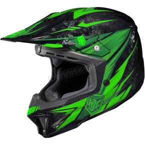 HJC Hi-Viz Neon Green/Black MC-4 CL-X7 Pop 'N Lock Helmet - 57-1348