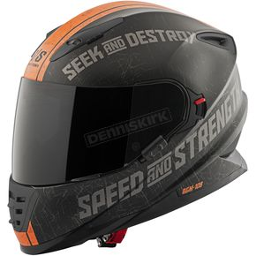 Speed and Strength Matte Black/Orange Cruise Missile SS1600 Helmet - 87-8556