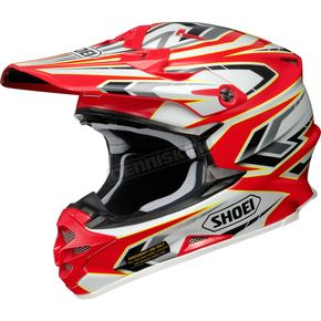 Shoei Helmets Red/White/Black/Yellow VFX-W Block Pass TC-1 Helmet - 0145-8701-06